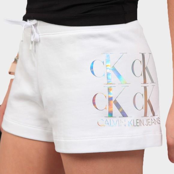 Calvin Klein Jeans Womens White Shine Logo Sweat Short