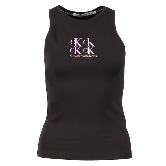Calvin Klein Jeans Womens Black Shine Logo Racer Back Vest