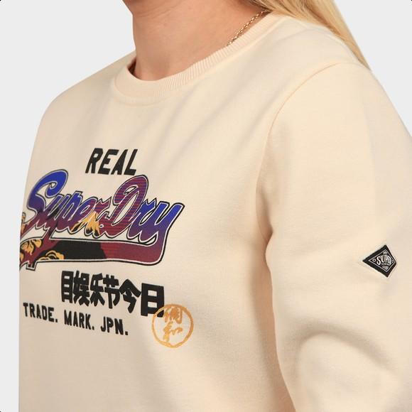 Superdry Womens Off-White Itago Crew Sweatshirt main image