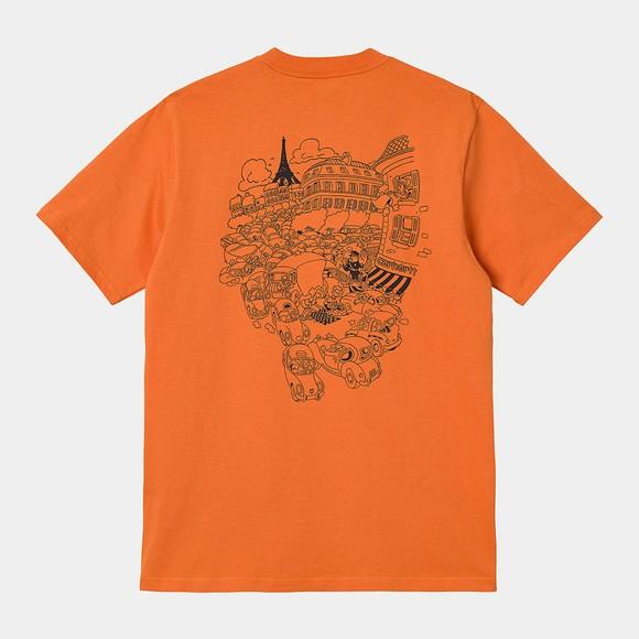 Carhartt WIP Mens Orange Picnic In Paris T Shirt
