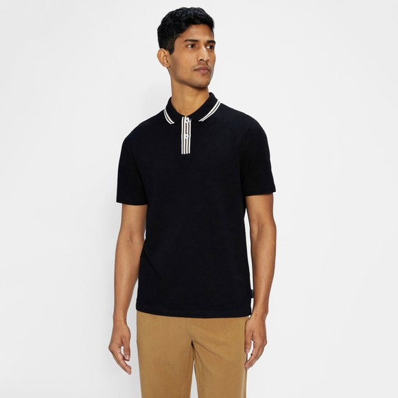 Ted Baker Mens Blue Twitwoo Stripe Collar Polo Shirt main image