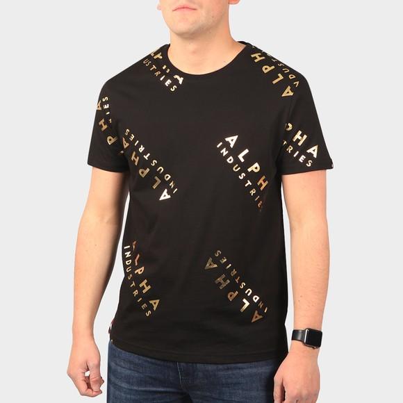 Alpha Industries Mens Black AOP Foil Print T Shirt