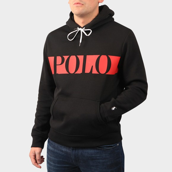 Polo Ralph Lauren Mens Black Active Large Logo Overhead Hoody