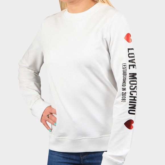 Love Moschino Womens White Sleeve Logo Sweatshirt