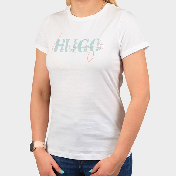 HUGO Womens White Slim Tee 9 T-Shirt