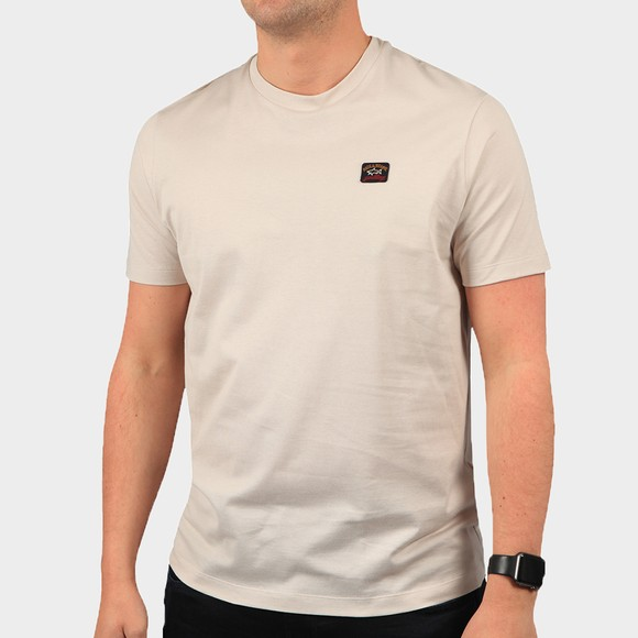Paul & Shark Mens Beige Chest Badge Plain T-Shirt