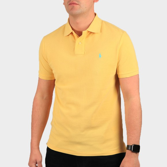 Polo Ralph Lauren Mens Yellow Custom Slim Fit Short Sleeve Polo Shirt