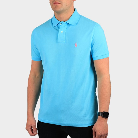 Polo Ralph Lauren Mens Blue Custom Slim Fit Short Sleeve Polo Shirt