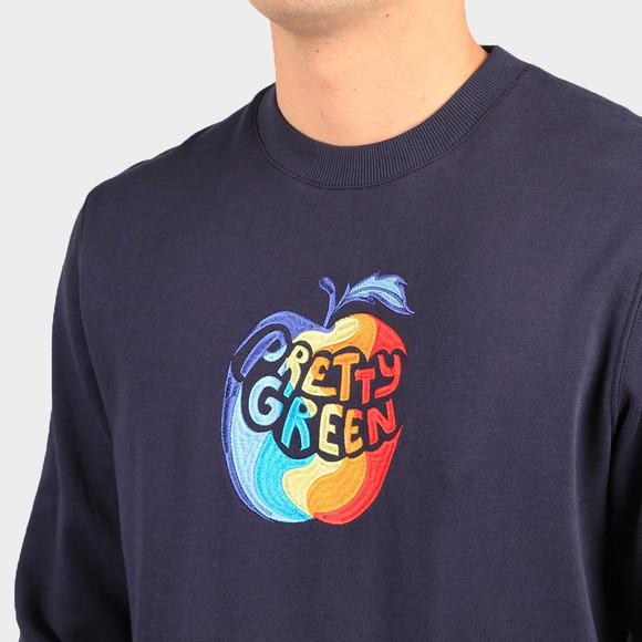 Pretty Green Mens Blue Bitten Apple Crew Sweatshirt main image