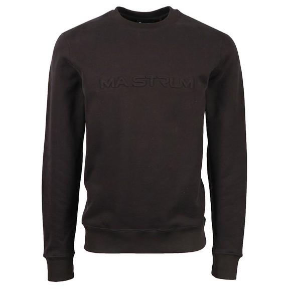 Ma.Strum Mens Black Embossed Logo Crew Sweatshirt