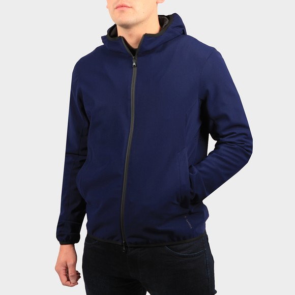 Esemplare Mens Blue Mobility Hooded Full Zip Shell Jacket