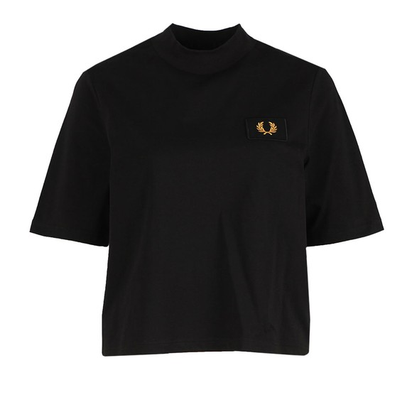 Fred Perry Womens Black High Neck Badge Detail T Shirt