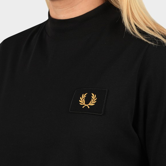 Fred Perry Womens Black High Neck Badge Detail T Shirt main image