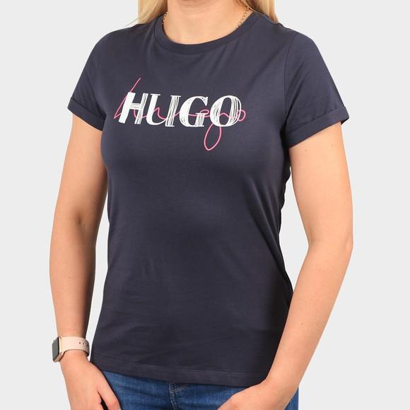 HUGO Womens Blue Slim Tee 9 T-Shirt