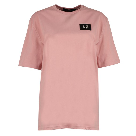 Fred Perry Womens Pink Oversized Badge Detail T Shirt