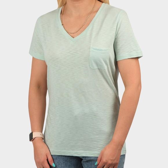 Superdry Womens Green Pocket V Neck T Shirt