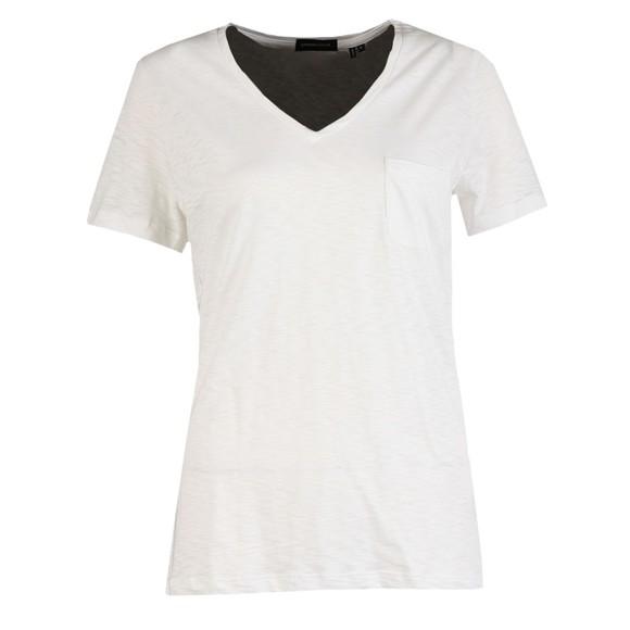 Superdry Womens White Pocket V Neck T Shirt