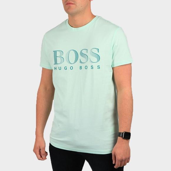 BOSS Bodywear Mens Green Regular Fit Large Logo T Shirt