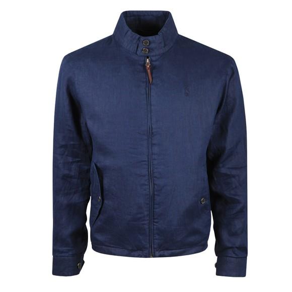 Polo Ralph Lauren Mens Blue Linen Mockneck Jacket
