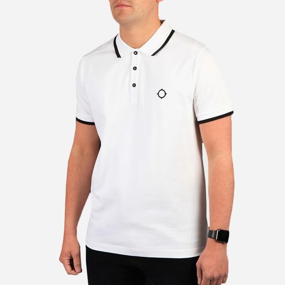 Ma.Strum Mens White Jersey Polo Shirt