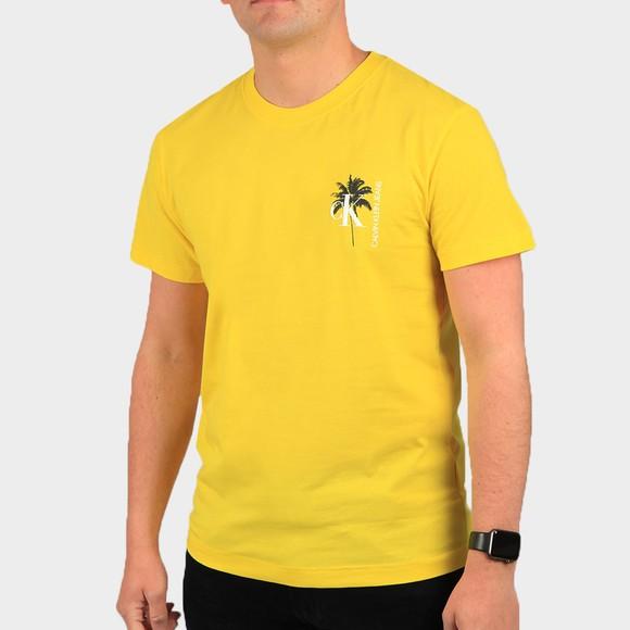 Calvin Klein Jeans Mens Yellow Palm Print T-Shirt
