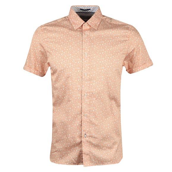 Ted Baker Mens Orange Mybow Mini Leaf Print SS Shirt