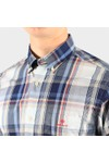 Gant Mens Beige Regular Washed Indigo Plaid Shirt