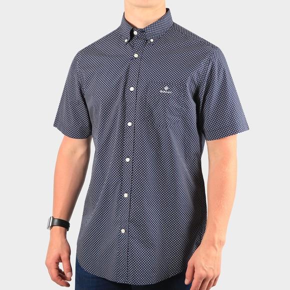 Gant Mens Blue Regular Micro Dot Short Sleeve Shirt