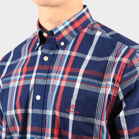 Gant Mens Blue Regular Washed Indigo Plaid Shirt main image