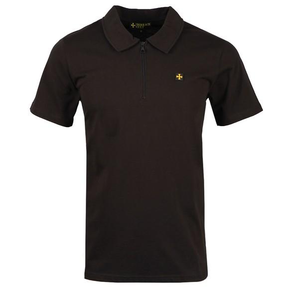 Terrace Cult Mens Black 1/2 Zip Polo Shirt