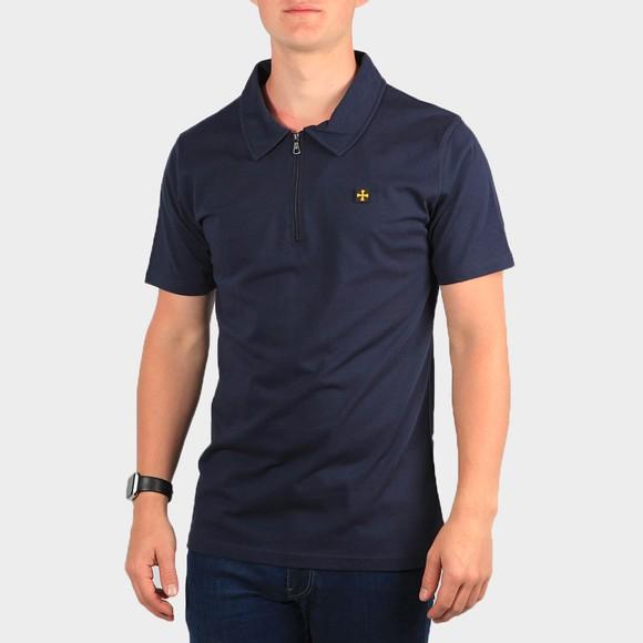 Terrace Cult Mens Blue 1/2 Zip Polo Shirt