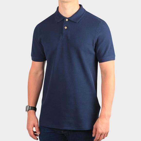 Ted Baker Mens Blue Fushon Waffle Textured Polo Shirt