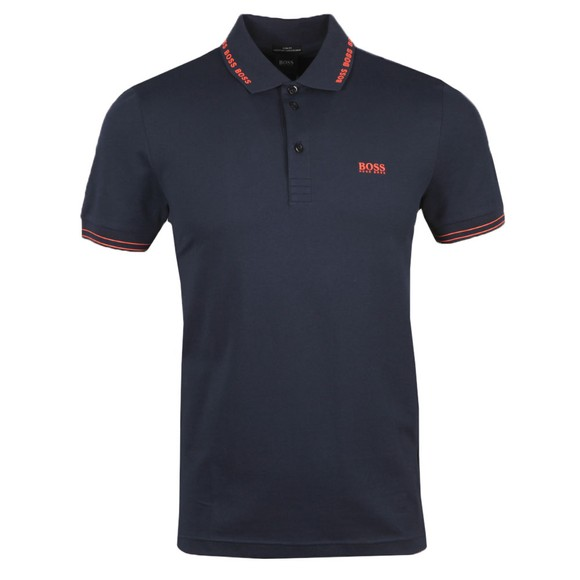 BOSS Mens Blue Athleisure Paule Collar Logo Polo Shirt
