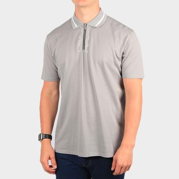 HUGO Mens Silver Dolmar 213 Zip Polo Shirt