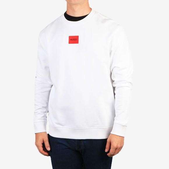 HUGO Mens White Diragol212 Crew Sweatshirt