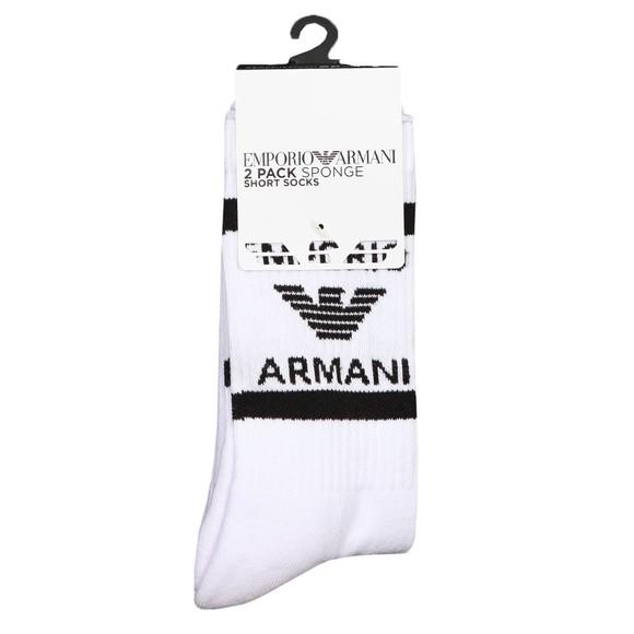 Emporio Armani Mens White Large Block Logo 2 Pack Socks