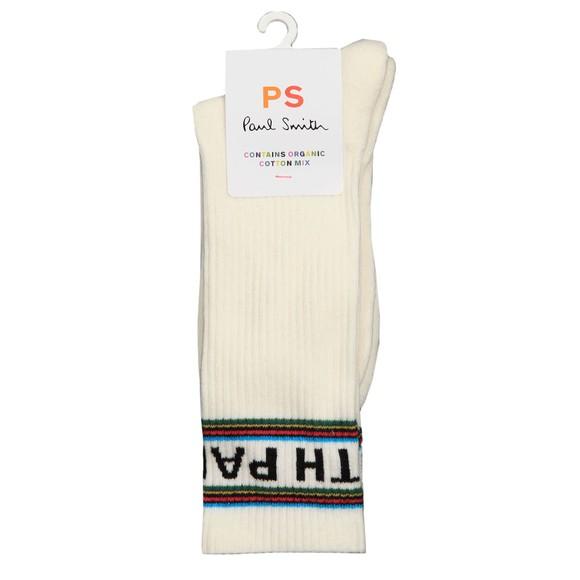 PS Paul Smith Mens Off-White Sport Stripe Logo Sock
