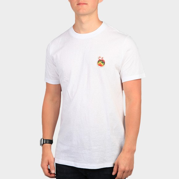 Pretty Green Mens White Apple Badge T-Shirt