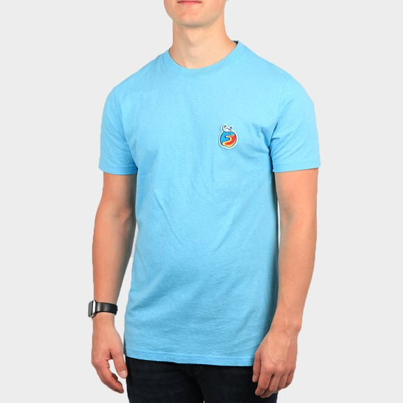 Pretty Green Mens Blue Apple Badge T-Shirt
