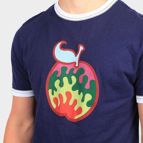 Pretty Green Mens Blue Retro Logo Apple T-Shirt main image