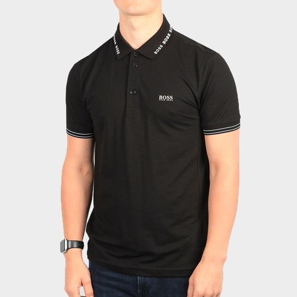 BOSS Mens Black Athleisure Paule Collar Logo Polo Shirt