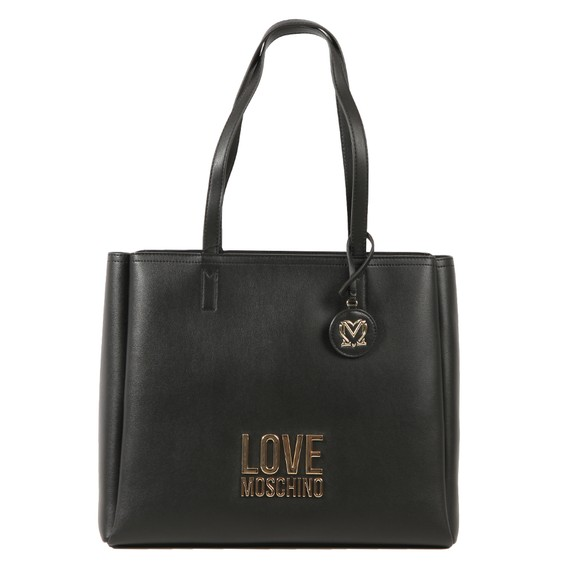 Love Moschino Womens Black Bonded Metal Logo Tote