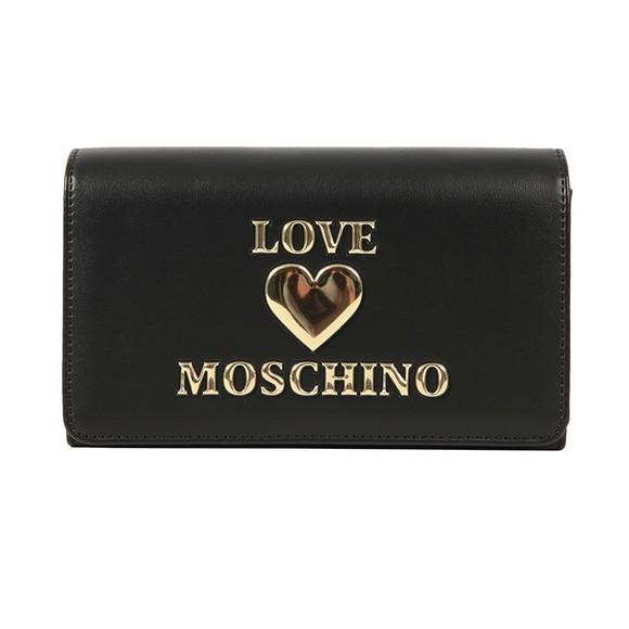 Love Moschino Womens Black Metal Heart Bag main image