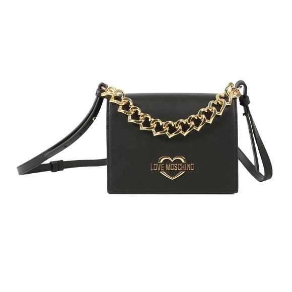 Love Moschino Womens Black Heart Logo Shoulder Bag