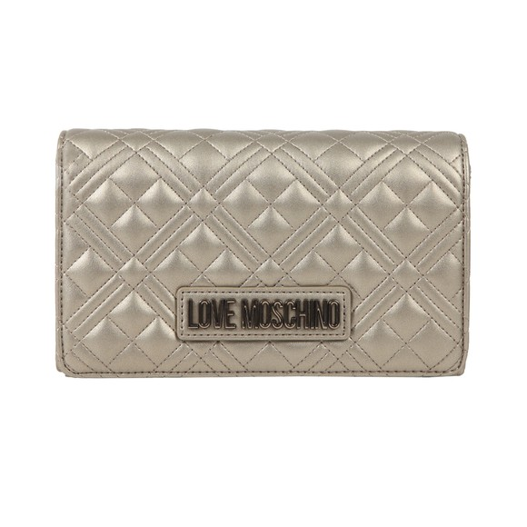 Love Moschino Womens Silver Cross Quilted Clutch