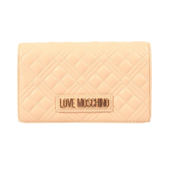Love Moschino Womens Off-White Cross Quilted Clutch main image