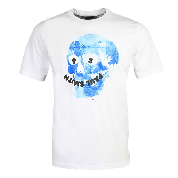PS Paul Smith Mens White Floral Skull T-Shirt