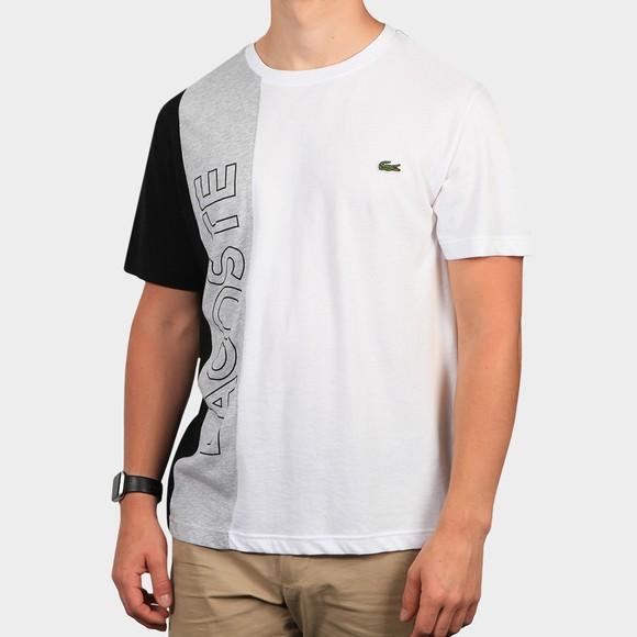 Lacoste Mens White TH0113 Lettering Colourblock T-Shirt