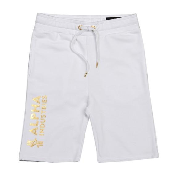 Alpha Industries Mens White Basic AOP Foil Print Sweat Short