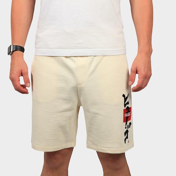 HUGO Mens Off-White Dilson Jersey Short